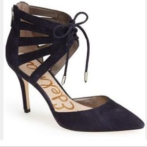 """Navy """"Zachary"""" cut out ankle cuff suede pump"""